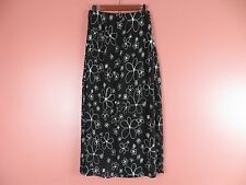 SK06933- NEW CHICO'S Woman 100% Rayon Long Pencil Skirt Black White Floral 1 S-M