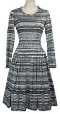 DAVID CRYSTAL vtg dress black white print  50s 60s l/s full skirt retro boho S 4