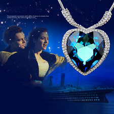 Large 18k White Gold GP Heart of the OCEAN Titanic Necklace Blue With Crystal
