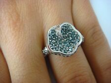 BEAUTIFUL, 1 CARAT T.W. BLUE & WHITE DIAMONDS, FLOWER RING 10K WHITE GOLD SIZE 7
