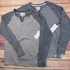 Paper Denim & Cloth Pdc Lot Of 2 Long-sleeve Grey Striped Henley Shirt Sz L