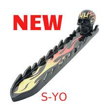 """Yellow & Orange Flaming Skull Poly Resin Tray Burner 11.5"""" long.S-Yo"""