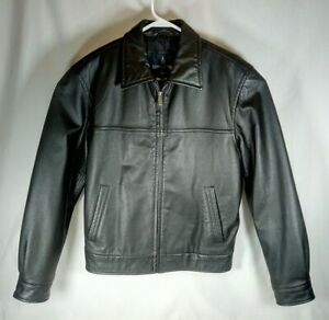 London Fog Leather Jacket Mens Small Black with Lining Full Zip Closure