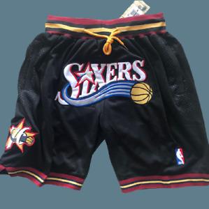 Philadelphia 76ers Vintage Basketball Shorts Black Men's Pants Stitched