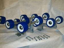 Pair of  galvanized roller assemblies 6 blue wobble on dipped spindles