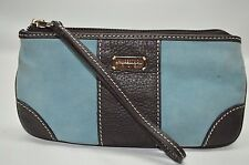 Lambertson Truex Light Blue Suede Brown Leather Trim Zip Wristlet Wallet