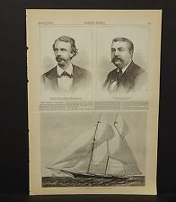 """Harper's Weekly Single Pg The Yacht """"Mohawk""""  1876 A8#11"""