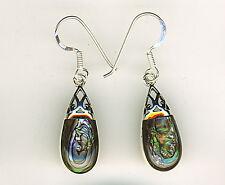 """925 Sterling Silver Abalone Drop / Dangle Earrings   Length 35mm   1.3/8""""   2"""
