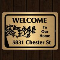"Custom Home Address Plaque Aluminum Metal 12"" x 8"" House Number Sign"