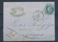 1872 Lettre N°60 Obl. GC4077 + Convoyeur station Sérézin L.VAL. ISERE(37) P4429