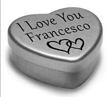 I Love You Francesco Mini Heart Tin Gift For I Heart Francesco With Chocolates