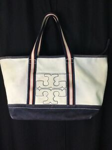 TORY BURCH Coated Canvas Dk Blue/Natural Zip Top Large Beach Tote **Flaw