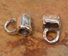 Tube Bead with Bail Closed Loop in Sterling Silver, 445d