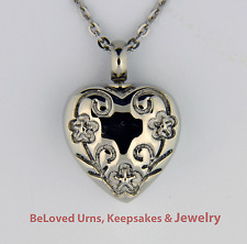 Flowers Cut Into Heart Cremation Jewelry Keepsake Pendant Urn w/ Chain & Funnel