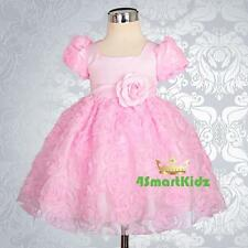 Baby Pink Embossed Flower Girl Dresses up Wedding Party Infant Size 0 Fg159