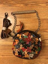 Leather Floral Studded Round Cross Body Bag, Design on Both Sides, Extra Handle!