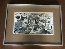 Stunning Original Abstract drawing by Carol Miller 1973 ink and While Tipp-Ex