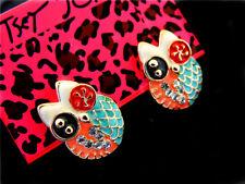 betsey johnson crystal owl ear studs earrings christmas gift