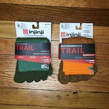 Injinji Womens Toe Socks Hiking Trail Mini Crew Pine + Orange Small Mix Lot 2
