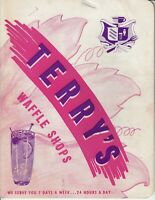 Vintage 1940s TERRY'S WAFFLE SHOPS Restaurant Menu, Vallejo, California 1949