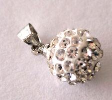 Modeschmuck Damen 925 Silber CZ Ball Kristall Strass Anhänger ohne Kette -NEU-