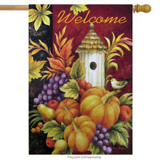 """Welcome Birdhouse House Flag Fall Autumn Harvest Pumpkin 28"""" x 40"""""""