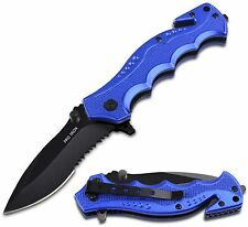 Pro Iron 2 Blue Assisted Serrated Outdoor Camping Folding Knife Blade Pocket
