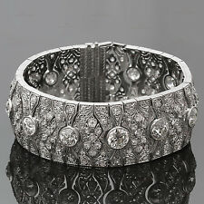 Magnificent Art Deco Diamond Platinum Filigree Bracelet