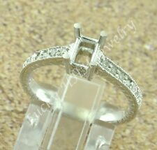14k Solid White Gold 0.15 ct Ladies Semi Mount Diamond Ring made in USA fits 4x6