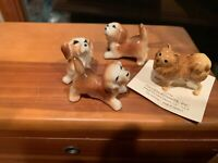 4 Lot Hagen-Renaker Miniature Ceramic Dog Figurine Pomeranian & 3 Beagle Puppies