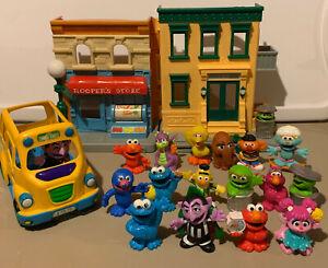 Sesame Street Neighborhood Friends Figures, Bus & Playset Lot fisher price