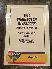 1994 Charleston Riverdogs Minor League Baseball Team Set Texas Rangers