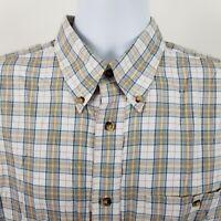 Orvis 100% Cotton Mens Blue Beige Check L/S Casual Button Shirt Sz Large L