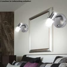 2 x Wand Lampen Bade-Zimmer Spiegel Spot Strahler Chrom Bad Leuchten schaltbar