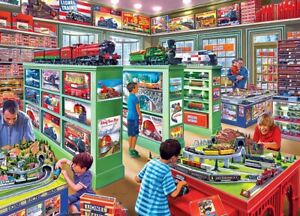 Jigsaw Puzzle Lionel Model Trains Well Stocked Toy Store Set Up 1000 pieces NEW