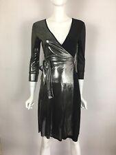 TBAGS LA 3/4 Sleeve V-Neck Wrap Around Mini Jersey Dress Silver Black S $215 B4