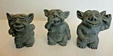 3 Vtg Nasty Whimsical Gothic Gargoyle Troll Resin Garden Statues
