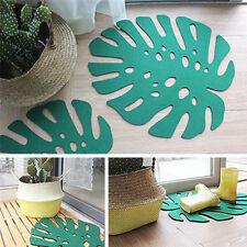 Green Felt Leaves Shape Carpet Anti-skid Home Room Floor Rug Mat 58 * 50 cm