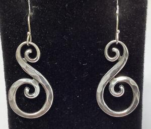 James Avery Sterling Silver Hammered Swirl Hook Dangle Earrings (8.28g)