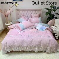 Luxury Princess Egyptian Cotton Flowers Embroidery Lace Bedding Set Cover Sheet