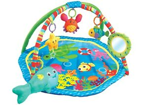 Baby Playmat Blue Aquarium Activity Play Mat With Mirror & Fun Sensory Toys