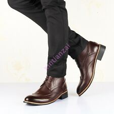 HOT Mens Retro Oxfords Wing Tip Carved Strappy Punk Roma High Top Motor Boot New