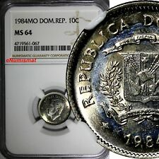 DOMINICAN REPUBLIC 1984 MO 10 Centavos NGC MS64 Juan Pablo Duarte KM# 60
