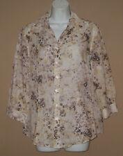 Womens Size 10 12 Medium 3/4 Long Sleeve Fall Fashion Floral Blouse Top Shirt