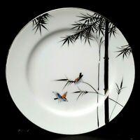 """Kutani Hayasi Bamboo Birds 8 Salad Plates 7.5"""" Platinum Mid-Century More Avail"""