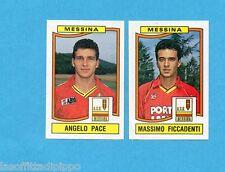 PANINI CALCIATORI 1990/91-Figurina n.418- PACE+FICCADENTI - MESSINA -Rec
