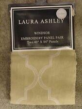 Laura Ashley Tan White Windsor Window Panels Drapes Set 2 NEW 40x84 Ivory