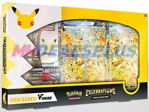 NEW Pokemon Celebrations 25th Anniversary Pikachu V-Union Box PreSale SHIP 10/07