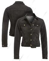 NEW DENIM JACKET Women Jeans Waist Stretch Jackets LADIES Black Size 8 10 12 14