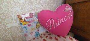 Disney Princess single duvet cover and Princess heart cushion